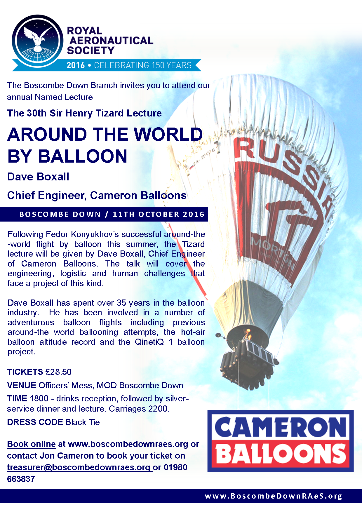 30th Sir Henry Tizard Lecuture: Around the World by Balloon